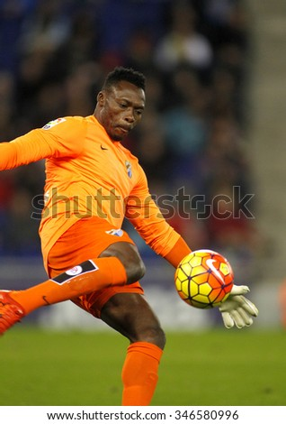 BARCELONA - NOV, 21: Carlos Kameni of Malaga CF during a Spanish League match against RCD Espanyol at the Power8 stadium on November 21 2015 in Barcelona Spain - stock photo