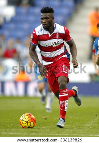 BARCELONA - NOV, 1: Isaac Success of Granada CF in action during a Spanish League match against RCD Espanyol at the Power8 stadium on November 1 2015 in Barcelona Spain - stock photo