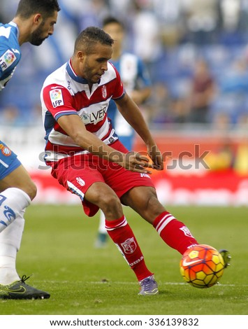 BARCELONA - NOV, 1: Youssef El-Arabi of Granada CF in action during a Spanish League match against RCD Espanyol at the Power8 stadium on November 1 2015 in Barcelona Spain - stock photo