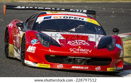 BARCELONA - NOVEMBER 2: GT Car at International GT Open at Catalunya Circuit on November 2, 2014 in Barcelona, Spain.