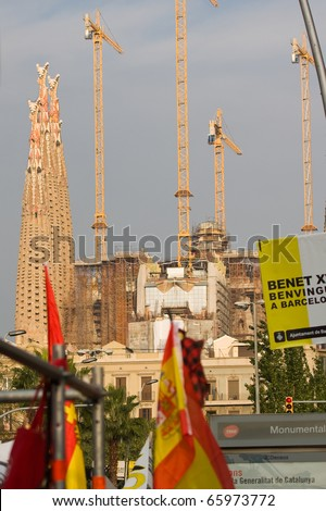 BARCELONA - NOVEMBER 7: Pope Benedict XVI (Joseph Alois Ratzinger) in Barcelona (Spain) to consecrate the Sagrada Familia church. November 7, 2010 in Barcelona (Spain). - stock photo