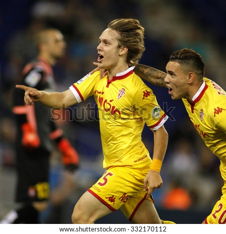 BARCELONA - OCT, 3: Alen Halilovic of Sporting Gijon celebrating goal during a Spanish League match against RCD Espanyol at the Power8 stadium on October 3 2015 in Barcelona Spain - stock photo
