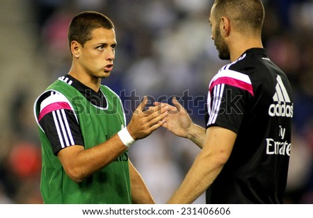 BARCELONA - OCT, 20: Javier Chicharito Hernandez of Real Madrid before the Spanish Kings Cup match against UE Cornella at the Estadi Cornella on October 29, 2014 in Barcelona, Spain - stock photo