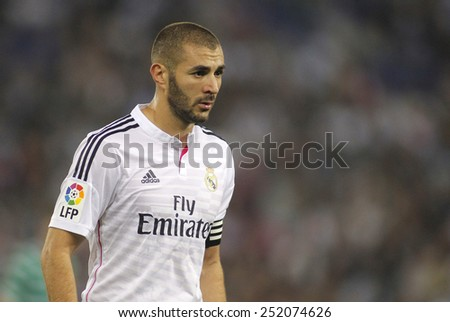 BARCELONA - OCT, 29: Karim Benzema of Real Madrid in action during the Spanish Kings Cup match against UE Cornella at the Estadi Cornella on October 29, 2014 in Barcelona, Spain - stock photo