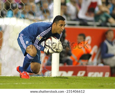 BARCELONA - OCT, 20: Keylor Navas of Real Madrid during the Spanish Kings Cup match against UE Cornella at the Estadi Cornella on October 29, 2014 in Barcelona, Spain - stock photo