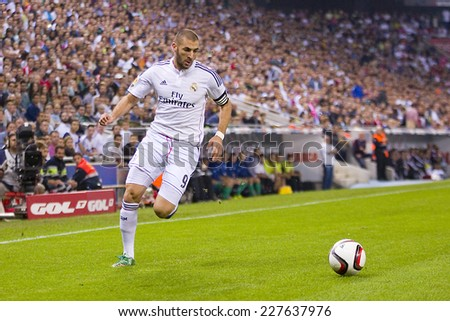 BARCELONA - OCTOBER 29: Karim Benzema of RM in action at the Copa del Rey match between UE Cornella and Real Madrid, final score 1 - 4, on October 29, 2014, in Cornella, Barcelona, Spain. - stock photo