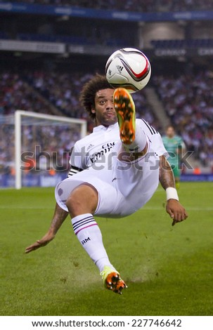 BARCELONA - OCTOBER 29: Marcelo Vieira of RM in action at the Copa del Rey match between UE Cornella and Real Madrid, final score 1 - 4, on October 29, 2014, in Cornella, Barcelona, Spain. - stock photo