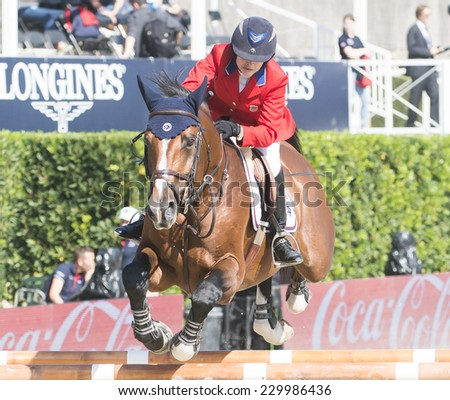 BARCELONA - OCTOBER 09: Margie Engle rider in action during the CSIO Coca-Cola Trophy in Real Club Polo Barcelona, on October 09, 2014, Barcelona, Spain.