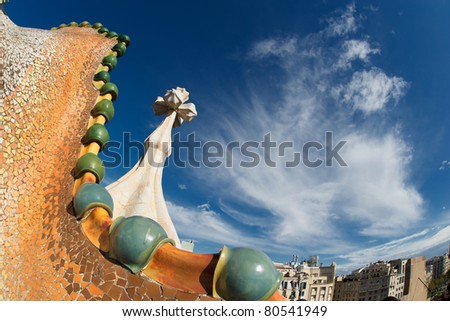 BARCELONA - OCTOBER 30: The facade of the house Casa Battlo (also called the house of bones) designed by Antoni Gaudi­ with his famous expressionistic style on october 30, 2010 Barcelona, Spain - stock photo