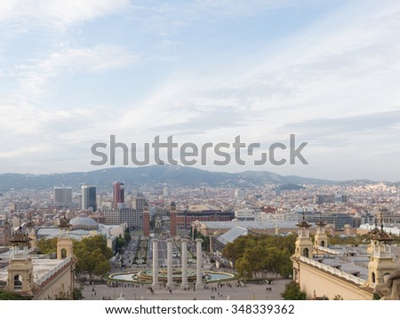 Barcelona - October 11, 2015: View of the city Avenue Reina Maria Cristina and the fountain, from the hill of Montjuic and a lot of people walk October 11, 2015 Barcelona, â??â??Catalonia, Spain
