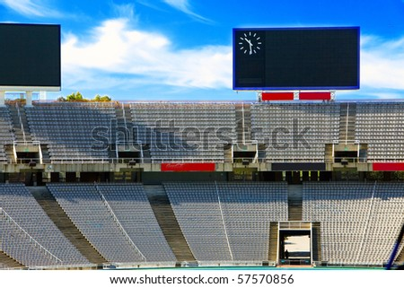 Barcelona. Olympic stadium. Board above empty tribunes. - stock photo
