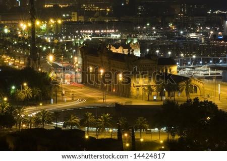 Barcelona on the night - stock photo