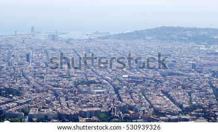 Barcelona panorama with port and streets, Catalonia, Spain,
