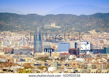 Barcelona panorama with Torre Agbar, Catalonia, Spain