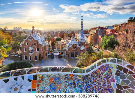 Barcelona - Park Guell, Spain - stock photo