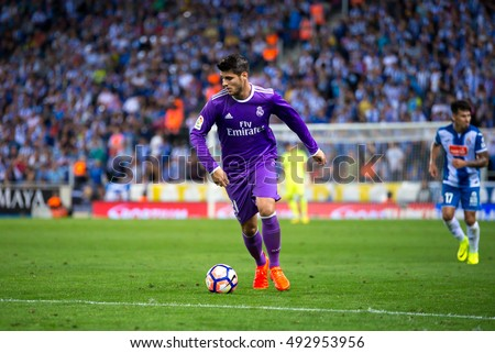 BARCELONA - SEP 18: Alvaro Morata plays at the La Liga match between RCD Espanyol and Real Madrid CF at RCDE Stadium on September 18, 2016 in Barcelona, Spain.