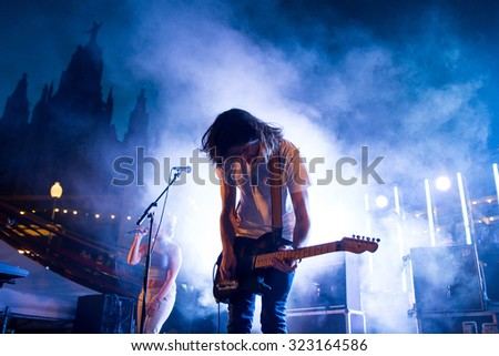 BARCELONA - SEP 5: Belako (band) in concert at Tibidabo Live Festival on September 5, 2015 in Barcelona, Spain. - stock photo