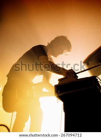 BARCELONA - SEP 2: Midnight Juggernauts (electronic band) performs at Razzmatazz Club on September 2, 2011 in Barcelona, Spain. - stock photo