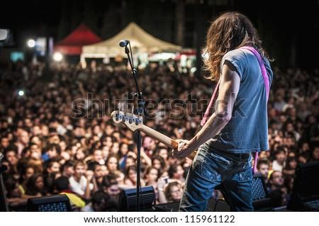 "BARCELONA - SEP 22: Samuel Titos member of Dover performs at the ""Hard Rock Rocks La Merce"" concert within La Merce celebrations on September 22, 2012 in Barcelona, Spain - stock photo"