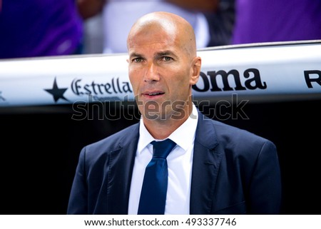 BARCELONA - SEP 18: The coach Zinedine Zidane at the La Liga match between RCD Espanyol and Real Madrid CF at RCDE Stadium on September 18, 2016 in Barcelona, Spain.