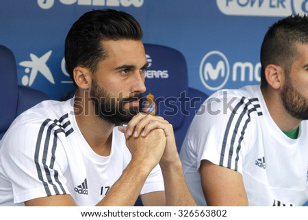 BARCELONA - SEPT, 12: Alvaro Arbeloa of Real Madrid during a Spanish League match against RCD Espanyol at the Power8 stadium on September 12 2015 in Barcelona Spain - stock photo
