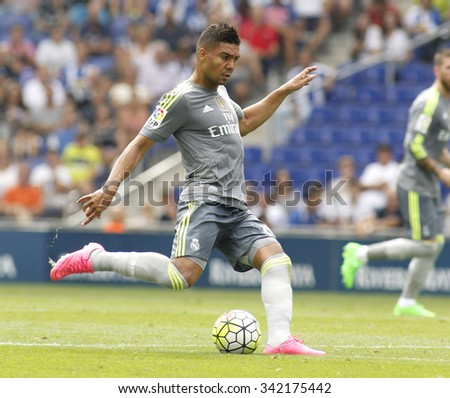 BARCELONA - SEPT, 12: Carlos Henrique Casemiro of Real Madrid during a Spanish League match against RCD Espanyol at the Power8 stadium on September 12 2015 in Barcelona Spain - stock photo