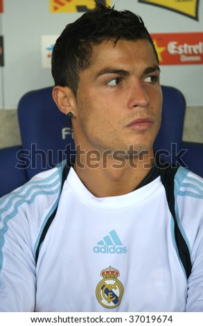 BARCELONA - SEPT. 12: Cristiano Ronaldo of Real Madrid before a Spanish League match against RCD Espanyol at the Estadi Cornella-El Prat on September 12, 2009 in Barcelona, Spain - stock photo