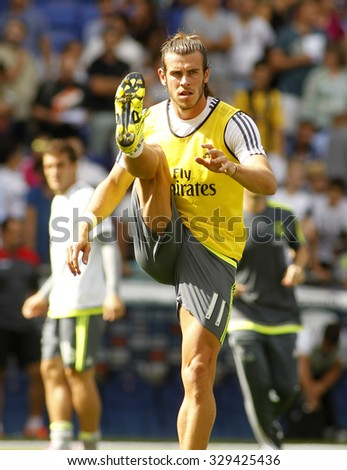 BARCELONA - SEPT, 12: Gareth Bale of Real Madrid before a Spanish League match against RCD Espanyol at the Power8 stadium on September 12 2015 in Barcelona Spain - stock photo