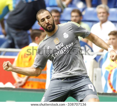 BARCELONA - SEPT, 12: Karim Benzema of Real Madrid during a Spanish League match against RCD Espanyol at the Power8 stadium on September 12 2015 in Barcelona Spain - stock photo