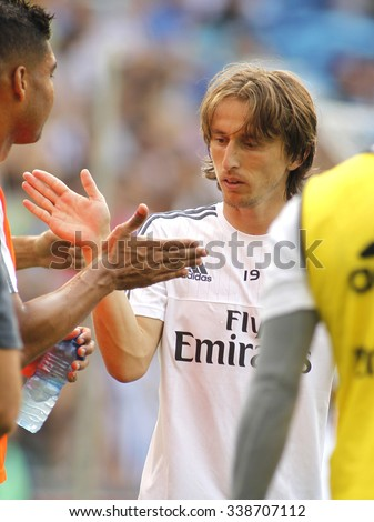 BARCELONA - SEPT, 12: Luka Modric of Real Madrid during a Spanish League match against RCD Espanyol at the Power8 stadium on September 12 2015 in Barcelona Spain - stock photo