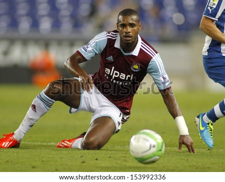 BARCELONA - SEPT, 5: Ricardo Vaz Te of West Ham United in action during a friendly match against RCD Espanyol at the Estadi Cornella on September 5, 2013 in Barcelona, Spain - stock photo