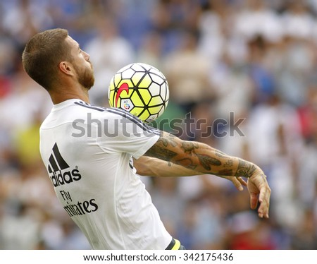 BARCELONA - SEPT, 12: Sergio Ramos of Real Madrid before a Spanish League match against RCD Espanyol at the Power8 stadium on September 12 2015 in BarcelonaSpain - stock photo