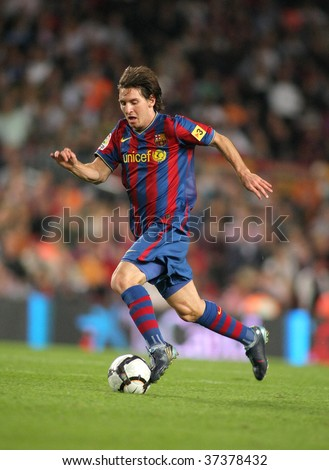 BARCELONA – SEPTEMBER 19: Argentinean player Leo Messi of FC Barcelona during Spanish league match, Barcelona vs Atletico de Madrid at the New Camp Stadium on September 19, 2009 in Barcelona, Spain. - stock photo