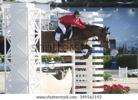 BARCELONA - SEPTEMBER 24: Maksymilian Wechta rider in action during the Furusiyya Nations Final Cup in Real Club Polo Barcelona, on September 24, 2015, Barcelona, Spain.
