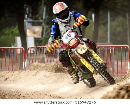 BARCELONA - SEPTEMBER 6: NORMANDIE ENDURANCE 50 Team at 24 hours endurance race of Vall del Tenes of Motocross on September 6, 2015, in Barcelona, Spain.
