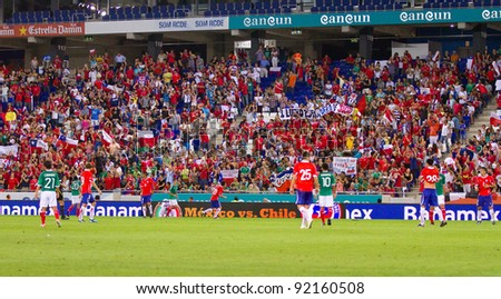 BARCELONA - SEPTEMBER 4: Some players in action during the friendly match between Mexico (green shirt) and Chile, final score 1 - 0, on September 4, 2011, in Cornella stadium, Barcelona, Spain.