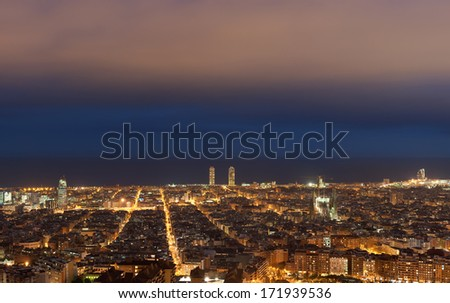 Barcelona skyline at night, Catalonia, Spain - stock photo