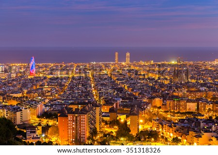 Barcelona skyline in te afternoon at Blue Hour - stock photo