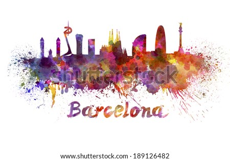 Barcelona skyline in watercolor splatters with clipping path - stock photo