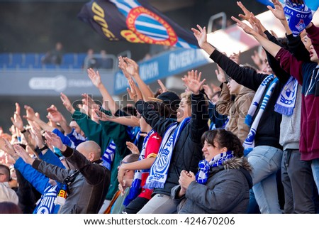 BARCELONA, SPAIN - APR 9: Fans at the La Liga match between RCD Espanyol and Atletico de Madrid at the Powerade Stadium on April 9, 2016 in Barcelona, Spain.