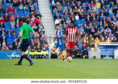 BARCELONA, SPAIN - APR 9: Thomas Partey plays at the La Liga match between RCD Espanyol and Atletico de Madrid at the Powerade Stadium on April 9, 2016 in Barcelona, Spain.