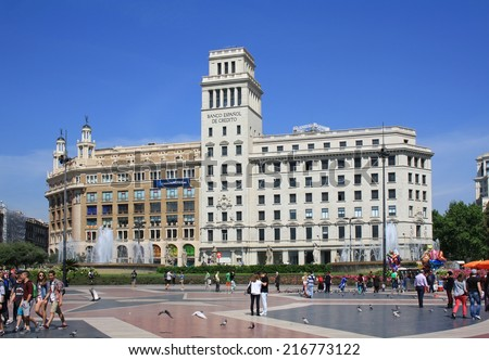 BARCELONA, SPAIN - APRIL 24, 2014: Banco Espanol de Credito on Placa de Catalunya on April 24, 2014 in Barcelona. It is the fifth-largest banking group in Spain now. - stock photo