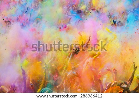 BARCELONA, SPAIN - APRIL 12, 2015:   Festival de los colores Holi. Holi is traditional holiday of India - stock photo
