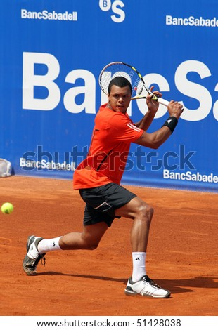 BARCELONA, SPAIN - APRIL 21:  Jo-Wilfred Tsonga, from France, playing in the Banc Sabadell Open tennis tournament on April 21 2010 in Barcelona, Spain. - stock photo