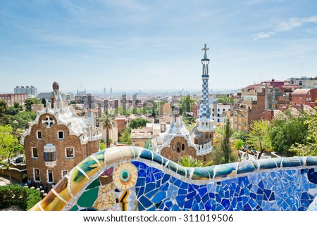 BARCELONA, SPAIN - APRIL 24, 2015:  View of Park Guell. Park Guell was designed by the Catalan architect Antoni Gaudi and built between the years 1900 and 1914.