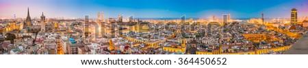 Barcelona, Spain as seen from Santa Maria del Pi church belltower. - stock photo