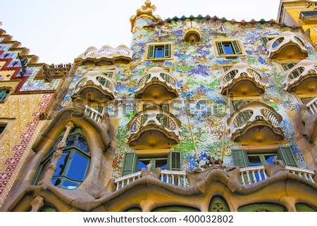 BARCELONA, SPAIN - AUGUST 14, 2011: Balconies of Casa Batllo building in Barcelona in Spain. It is also called as House of Bones. It was designed by Antoni Gaudi, Spanish architect. - stock photo