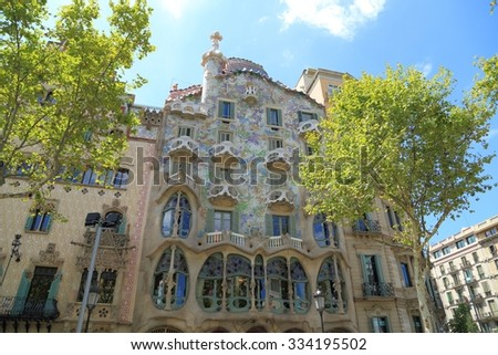 BARCELONA, SPAIN - AUGUST 9, 2015: Casa Batllo building in Barcelona. It was redesigned by the legendary architect Antoni Gaudi in 1904. - stock photo