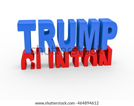 BARCELONA, SPAIN - August 07, 2016: 3d render with the names of the candidates to be the next President of the United States and the chances of winning or losing each other on a white background.