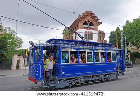 BARCELONA, SPAIN - AUGUST 1, 2015: Famous and one of the oldest in the world  streetcar Tramvia Blau to Tibidabo hill in Barcelona, Spain - stock photo